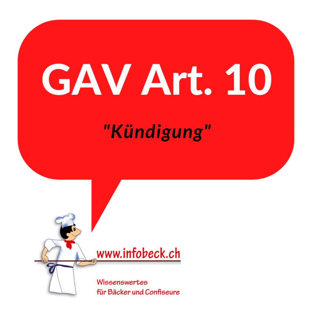 GAV Art. 10, Kündigung