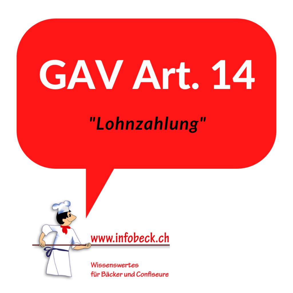GAV Art. 14, Lohnzahlung
