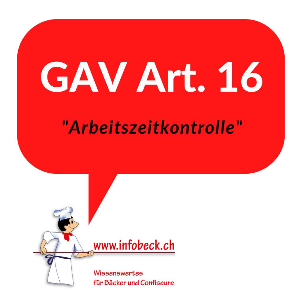 GAV Art. 16, Arbeitszeitkontrolle
